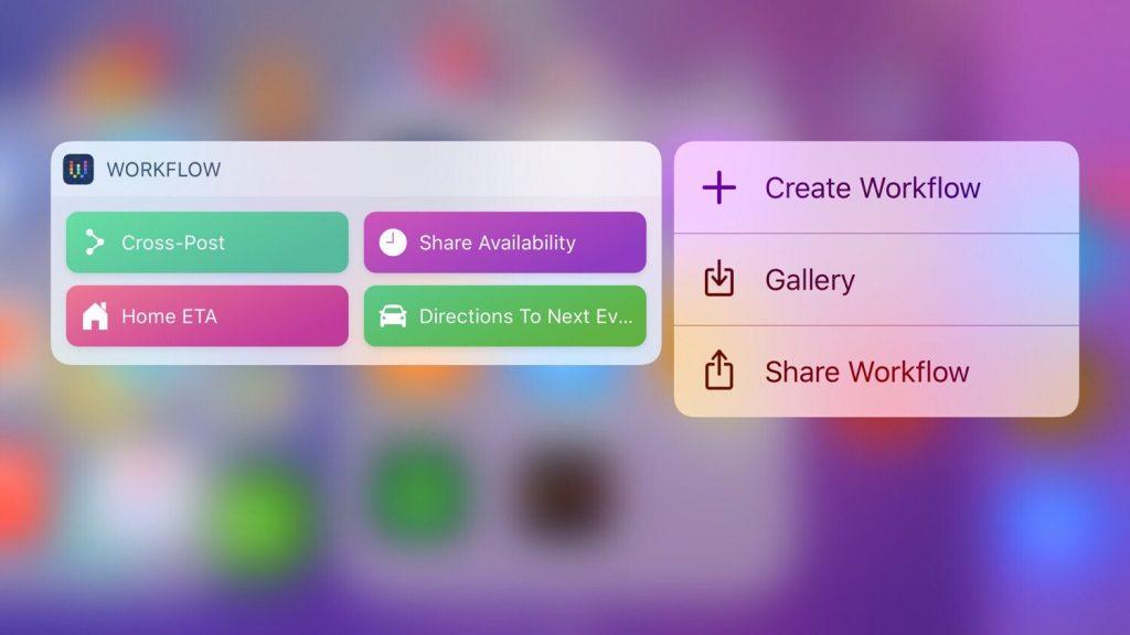 3D Touch widget Workflow