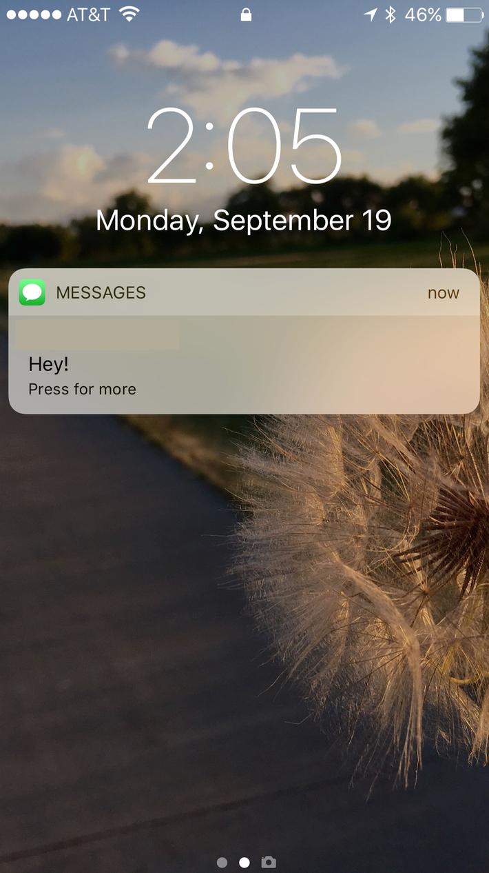 Text on iOS 10 Lock Screen