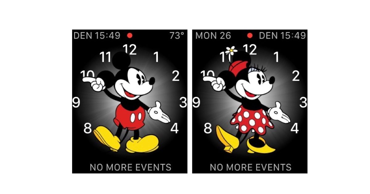 Mickey-and-Minnie Mouse watch faces.