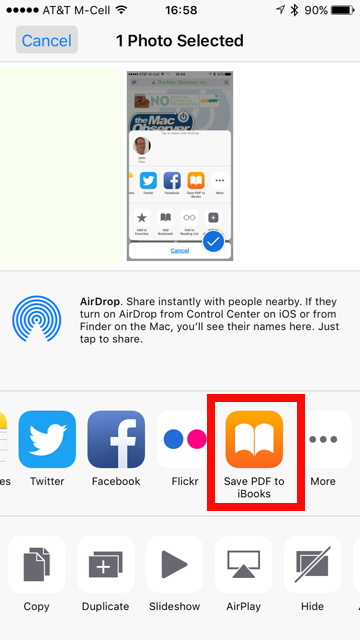 Share Sheet on iPhone.