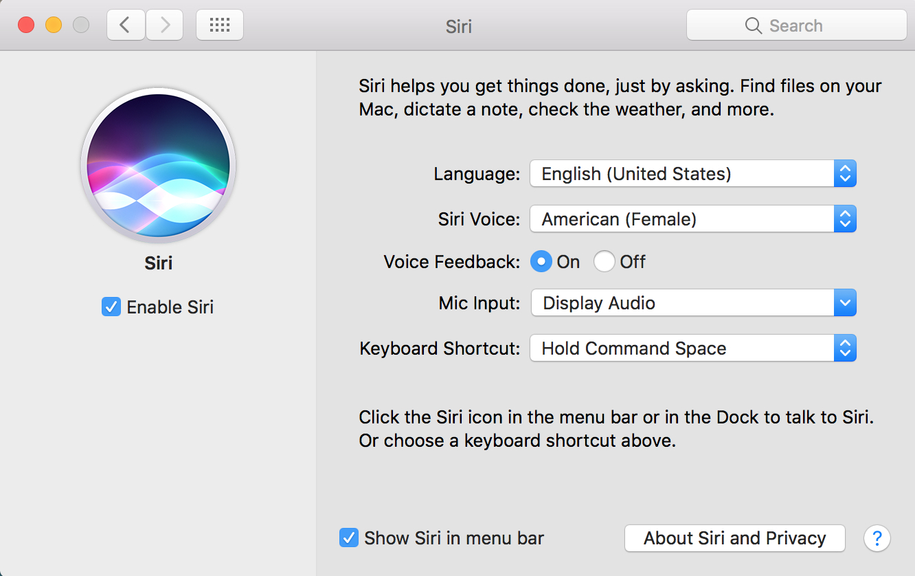 macOS Sierra Siri Preferences