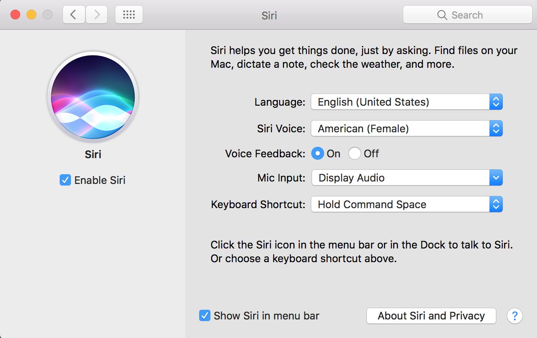 macOS Sierra Siri Preferences