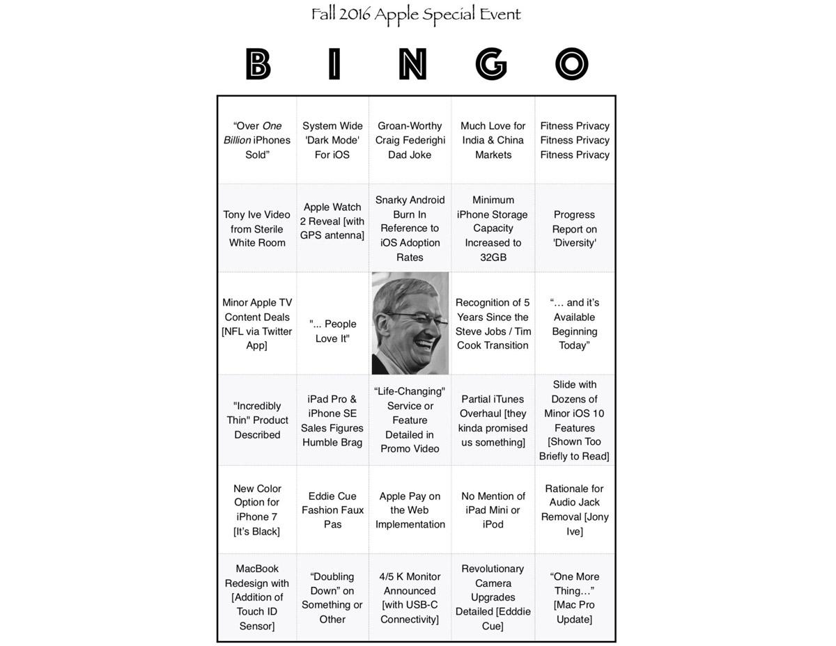 The 'Official' BINGO Card for Apple's September 7th Media ...