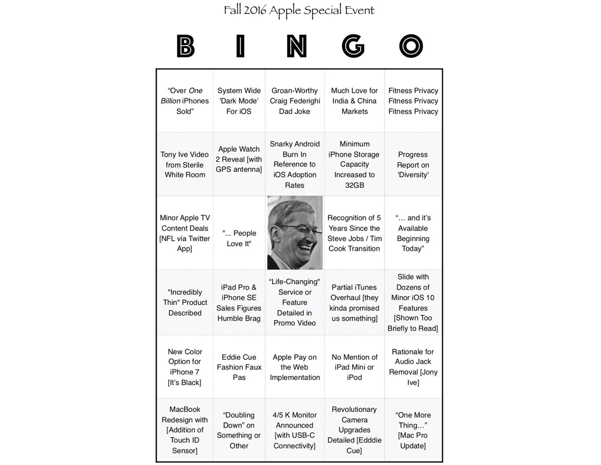 The 'Official' BINGO Card for Apple's September 7th Media Event