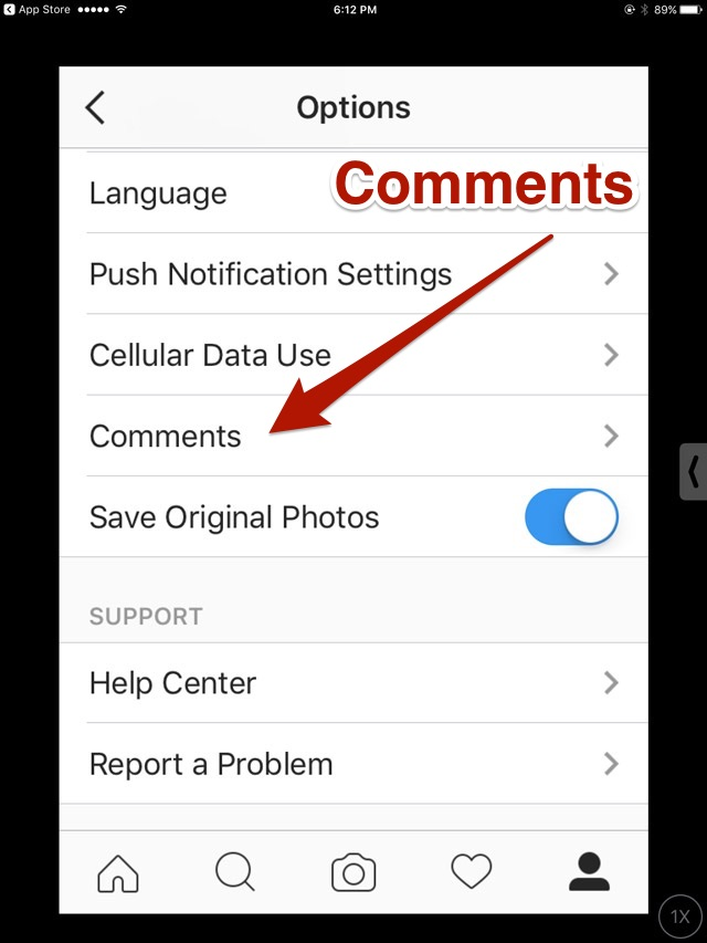 Options' Comments Controls in Instagram version 9.3