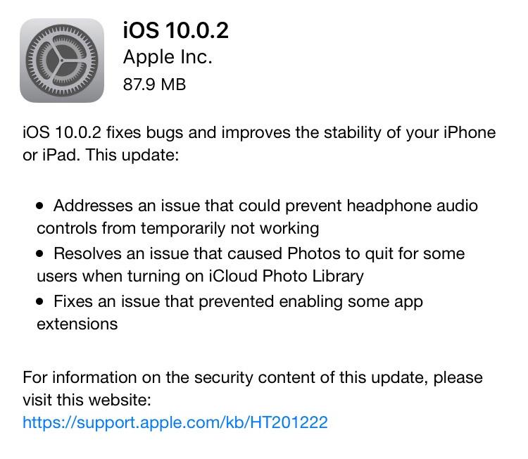 iOS 10.0.2 Screenshot