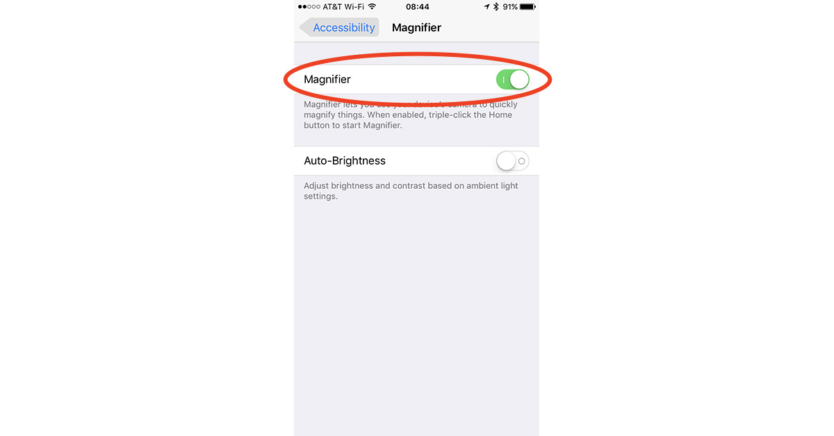 iOS 10 magnifying lens setting in Accessibility