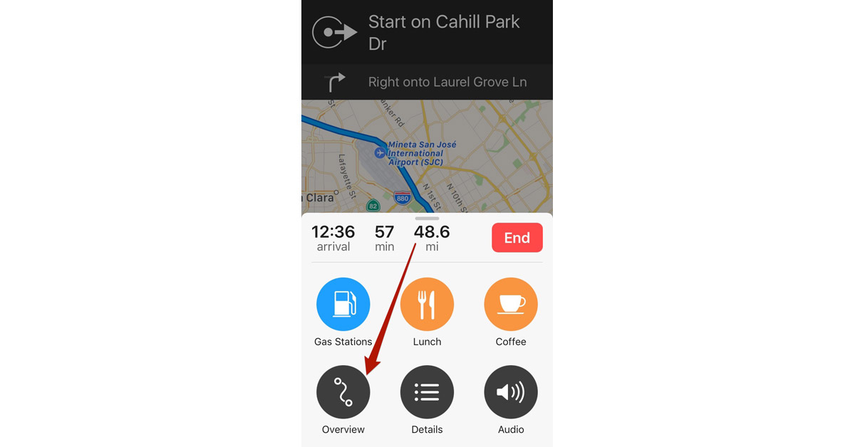 iOS 10 Maps Overview Button