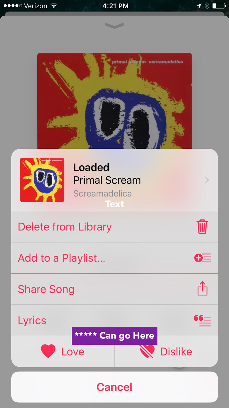 iOS 10 Music Rating Mockup