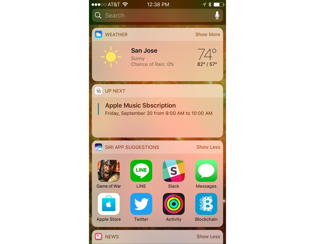 iOS 10 Today Screen