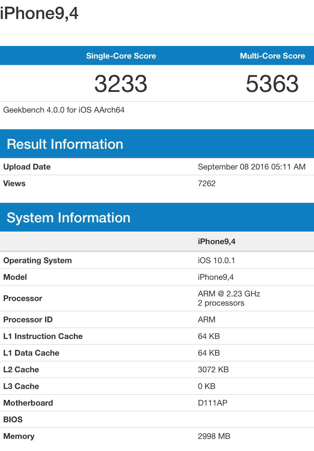Geekbench Test for iPhone 7 Plus