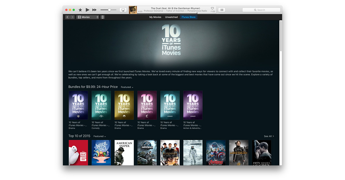 Apple Offers $10 Film Bundles for 10 Years of iTunes Movies