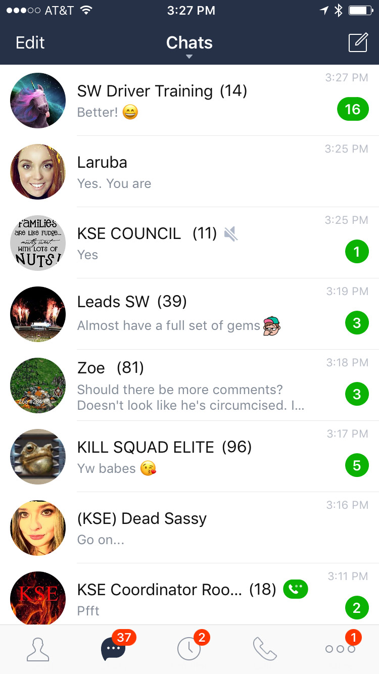 LINE App Chats View