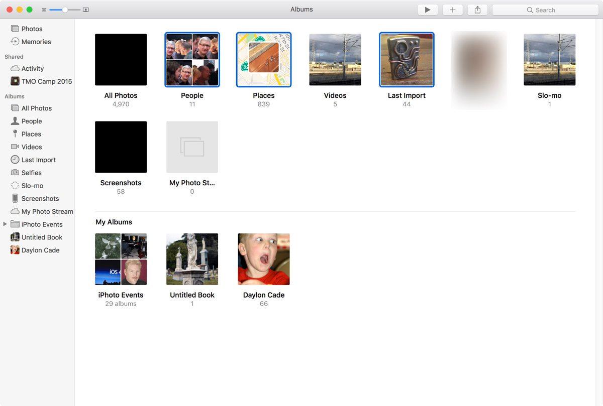 Select Multiple Albums in macOS Sierra Photos