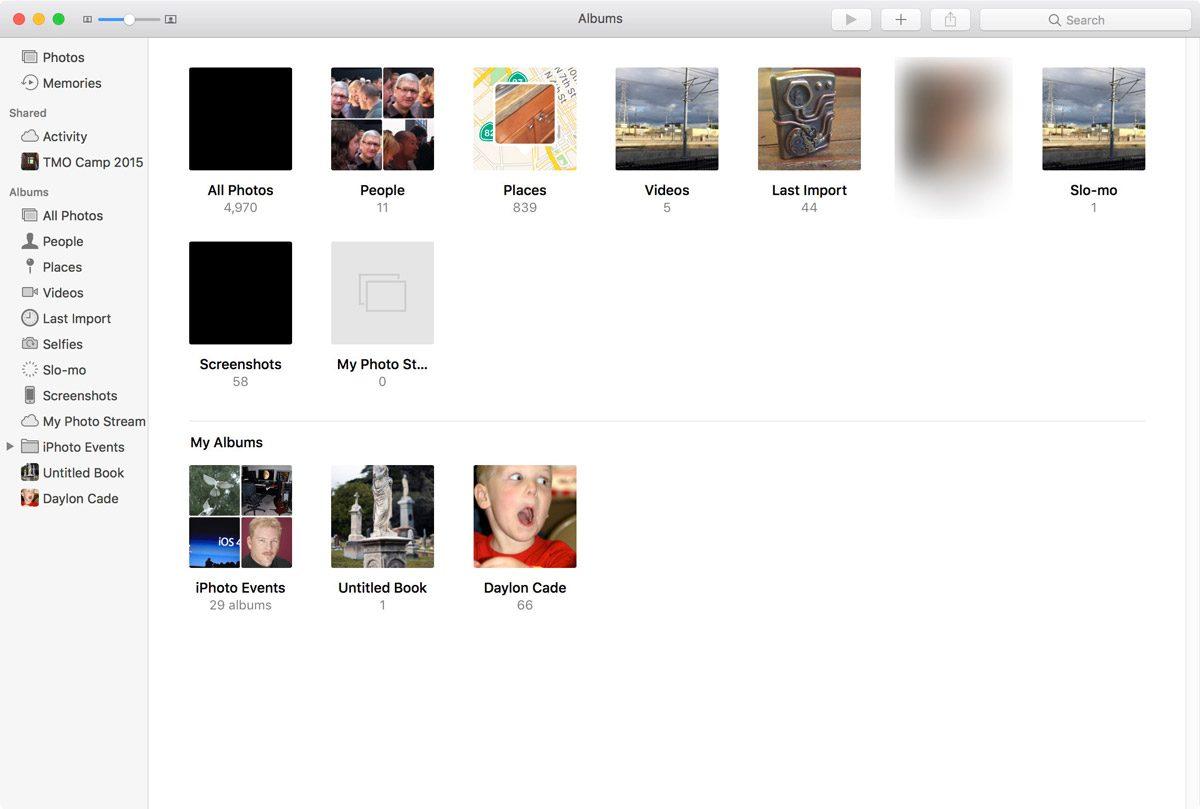macOS Sierra Photos Albums View