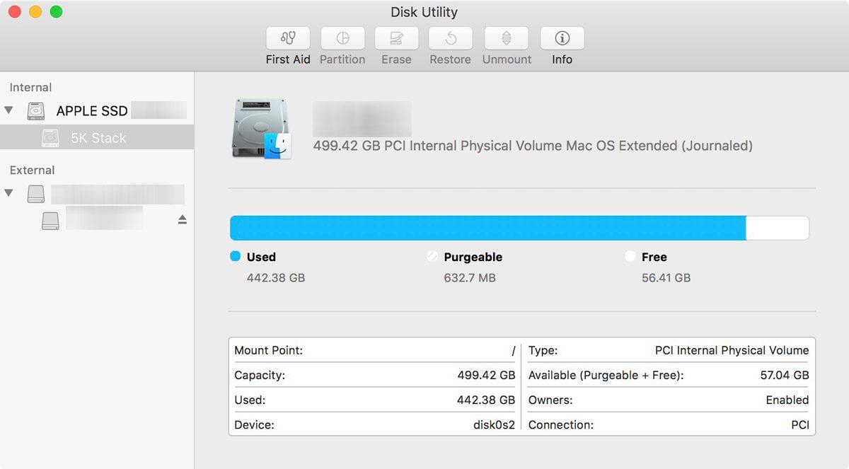 macOS Sierra Disk Utility