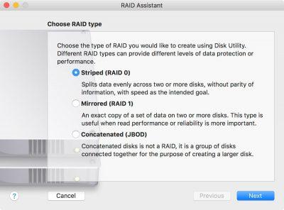 macOS Sierra Disk Utility RAID Assistant