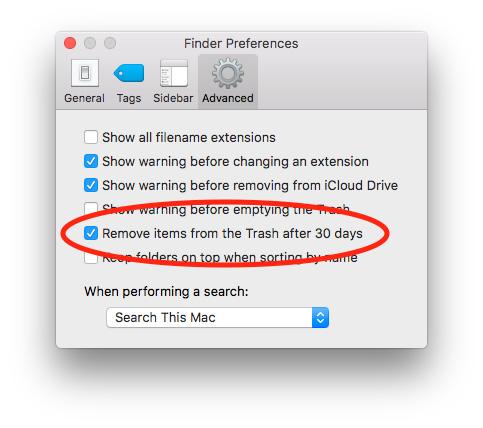 Finder Preferences for auto-deleting macOS Sierra Trash