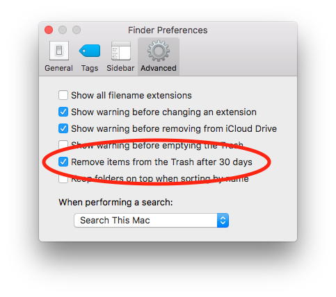Finder Preferences for auto-deleting macOS Sierra Trash