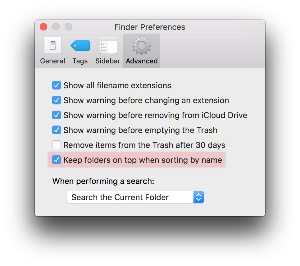 macos sierra folders on top