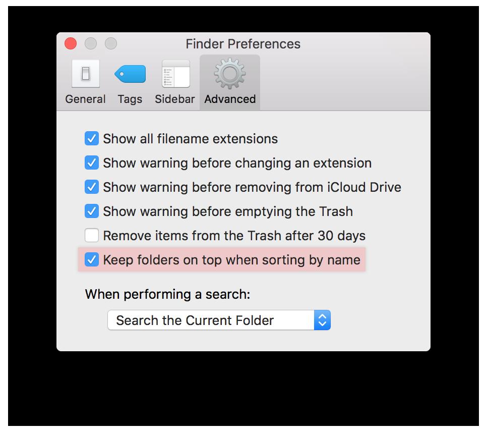 macos sierra folders on top
