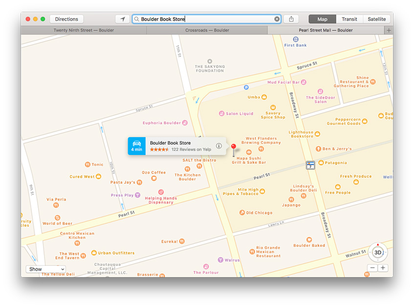 macOS Sierra tabbed windows in Maps