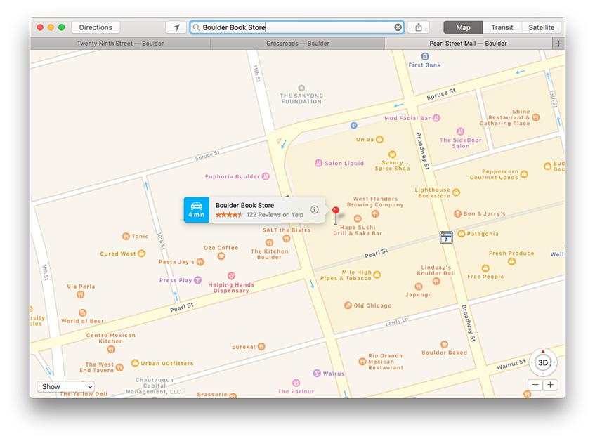 macOS Sierra tabbed windows in Maps