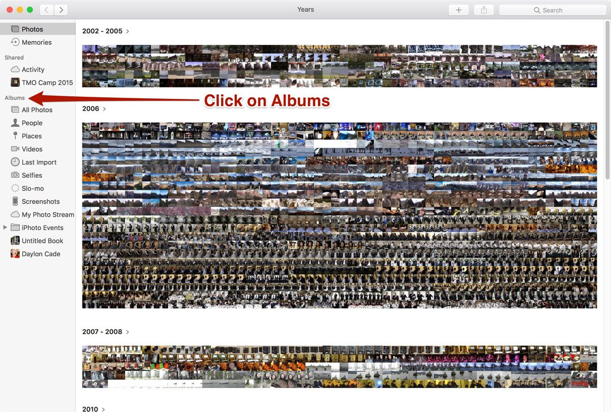 Photos View in macOS Sierra Photos - Click Albums in the Left Sidebar