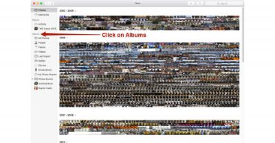 Select Albums View in macOS Sierra Photos