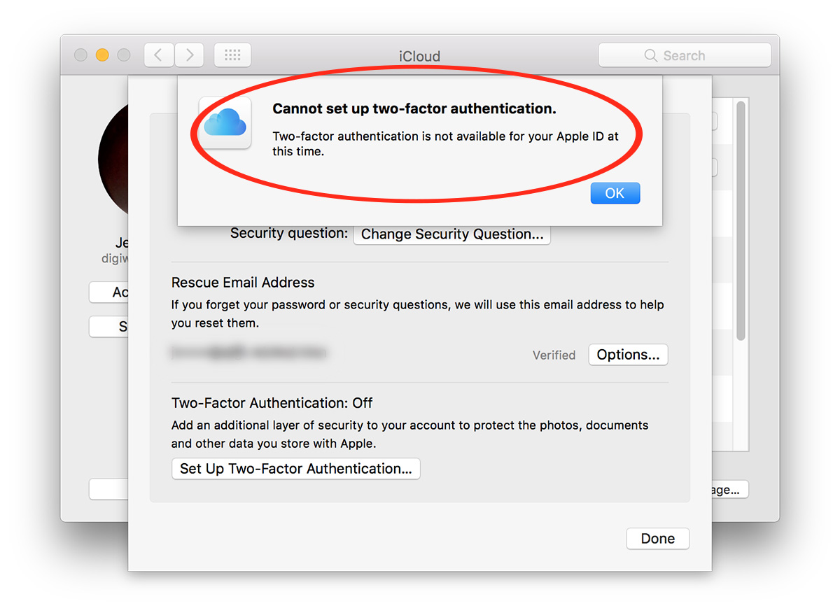 iCloud Two-Factor authentication setup failure