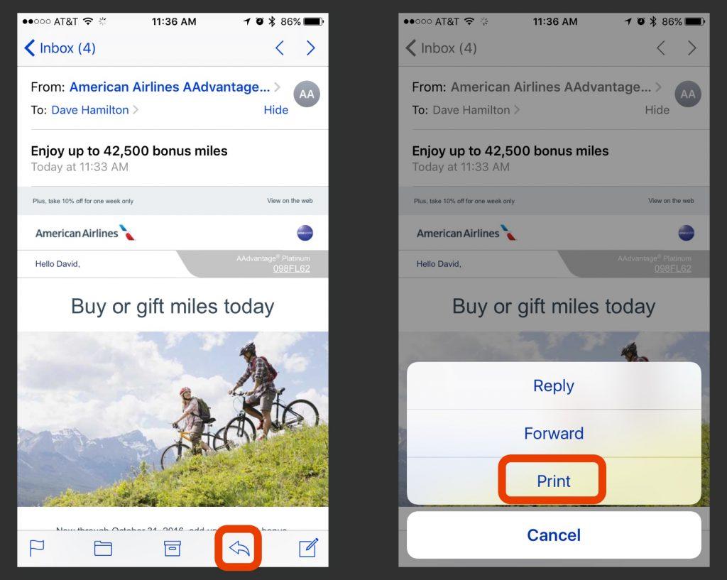 iOS Printing Screenshot First Steps
