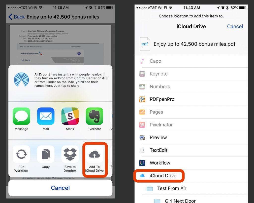 iOS Screenshot showing save to PDF