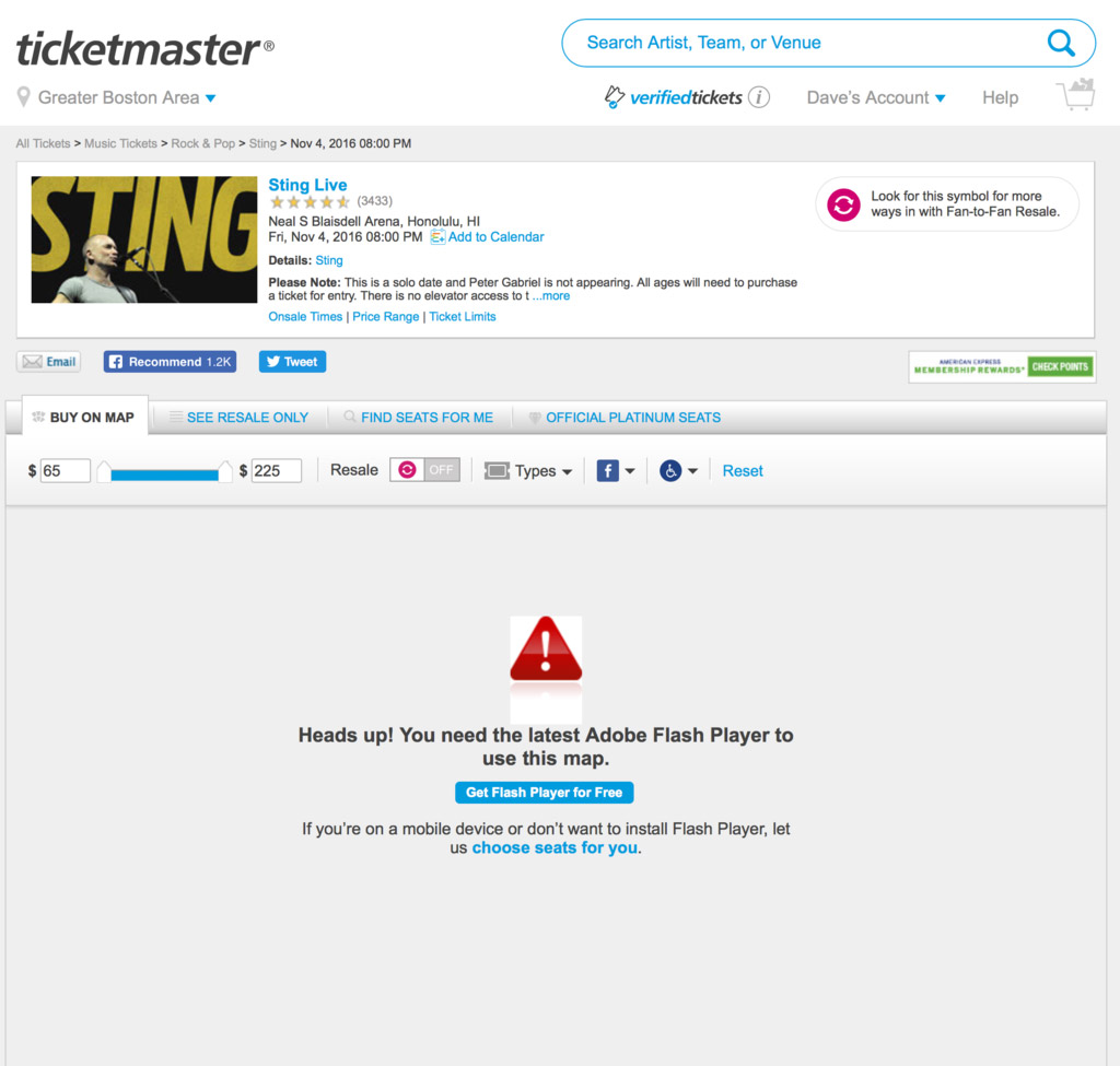 Ticketmaster Uses Flash