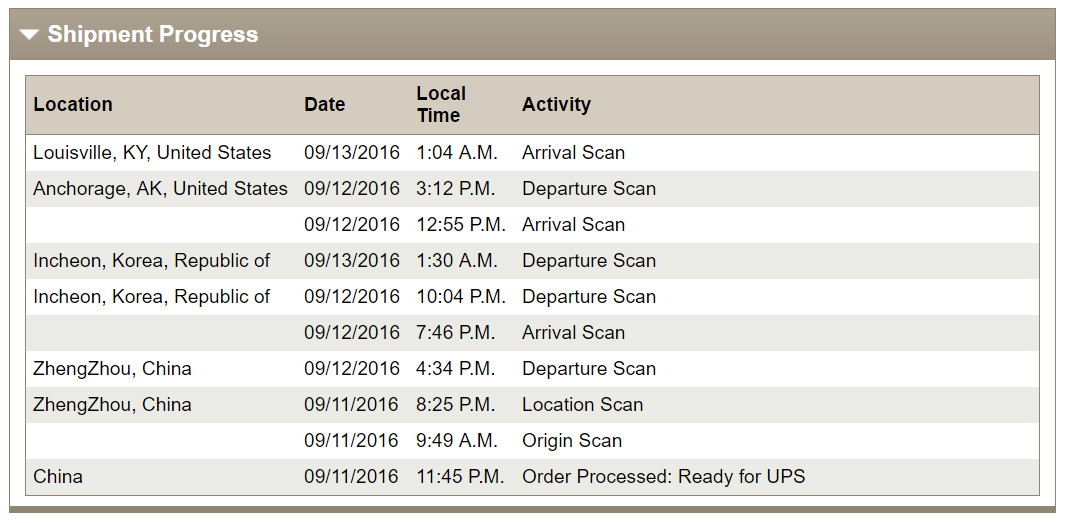 ups tracking info