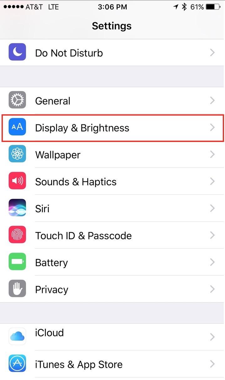 iOS 10 Raise to Wake Display Settings