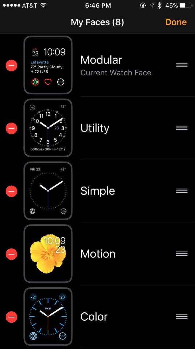 Apple Watch watchOS 3 Watch app Edit Faces