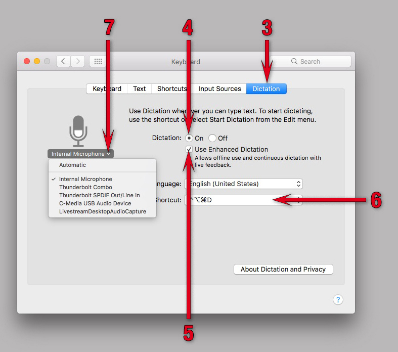 Enabling Dictation in the Keyboard System Preferences pane in macOS Sierra.