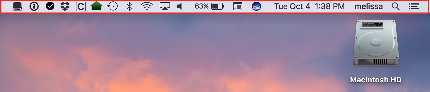 macOS Sierra Menu Bar