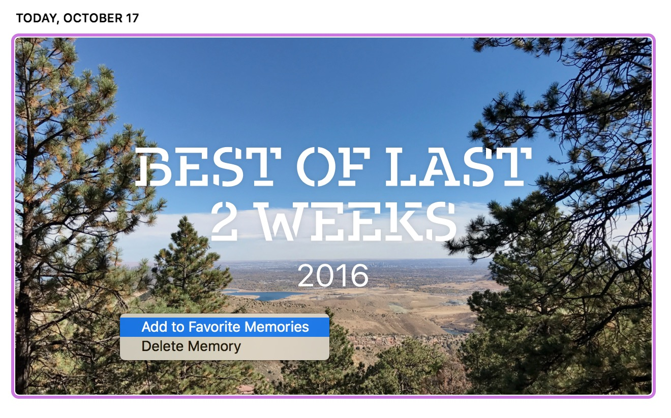 macOS Sierra Photos Memories add to favorite memories contextual menu