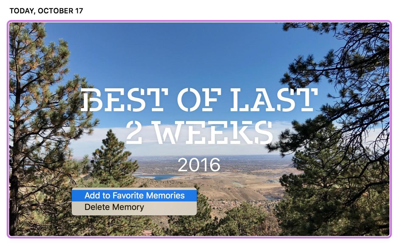 macOS Sierra Photos Memories add to favorite memories contextual menu