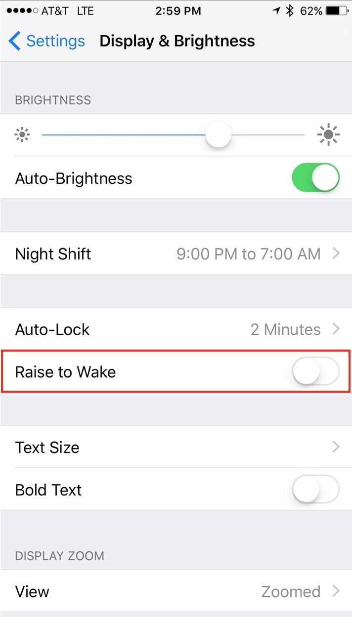 iOS 10 Raise to Wake