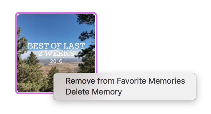 macOS Sierra Photos Memories Remove from Favorites contextual menu