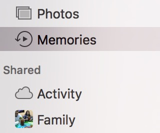 macOS Sierra Photos Memories sidebar