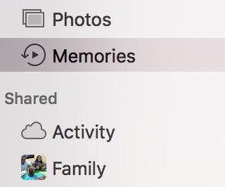 macOS Sierra Photos Memories sidebar