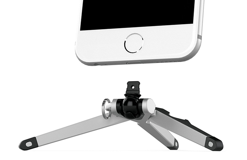 The Stance compact tripod attaches via the Lightning connector.