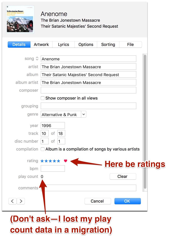 """iTunes 12.5.x Screenshot for """"Anenome"""" by Brian Jonestown Massacre"""
