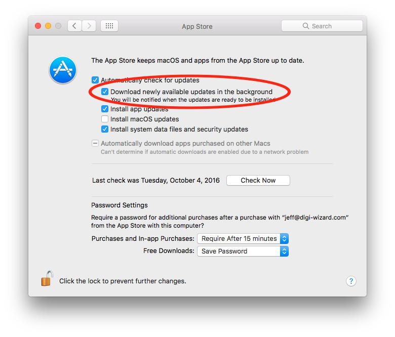 App Store background app updating settings
