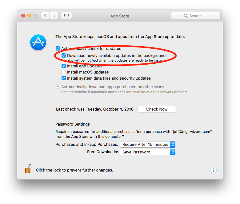 App Store background app updating settings