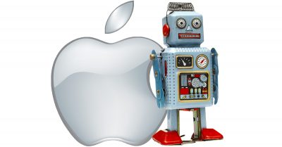 Apple logo and really smart tin robot