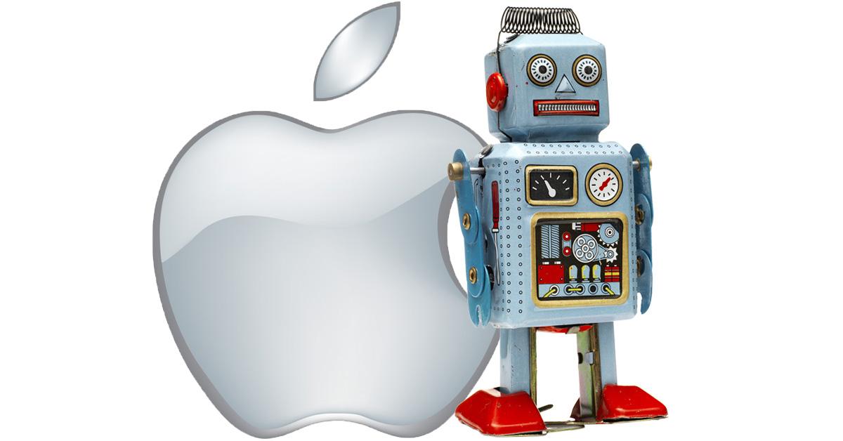Apple logo and really smart tin robot